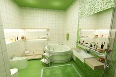 Salle de bain verte et blanche