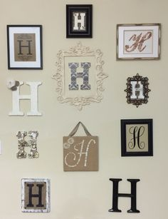 My monogram wall Monogram Wall, Gallery Wall, Patterns, Board, Frame, Projects, Etsy, Ideas, Home Decor
