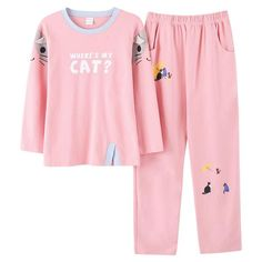 2 Piece Pink Long Sleeve Elastic Waist Cute Cat Lettering Lounge Sleep Set.  eCatShop · Cat Pajamas 1c39c300c161e