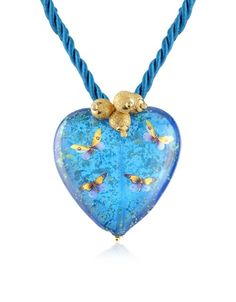 Handmade Murano Glass Heart & Butterfly Pendant with Lace $198