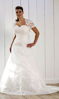 plus size bridal gown - strapless wedding gown with shrug jacket for plus size bride - contact us for pricing - www.dariuscordell.com/featured/plus-size-wedding-dresses-bridal-gowns/