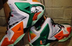 "The University of Miami has been a long time college football powerhouse. Dez Customz pays homage to 'The U' by creating this Nike LeBron 11 ""The U. Cheap Nike Shoes Online, Nike Shoes Outlet, Lebron 11, Nike Lebron, Lebron James, Hurricanes Football, Miami Hurricanes, Air Jordan, Futuristic Shoes"