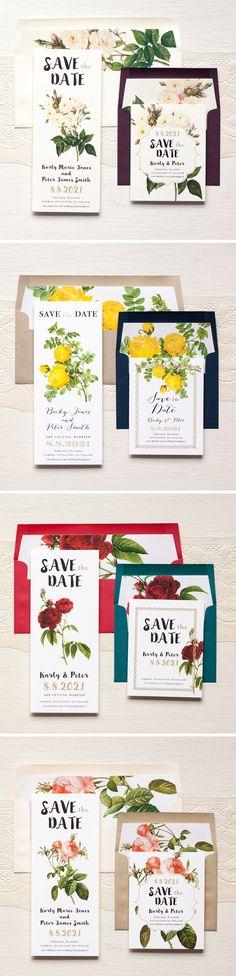Modern Floral Wedding Save The Dates With Custom Envelope Liners #modern #floral #savethedates #invitations #envelope #liners #roses