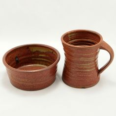 Studio Pottery Mug Bowl Brown Clay Glaze Vtg