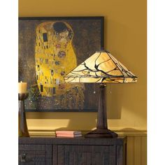 Tiffany style art glass lighting warms up a room for fall | Budding Branch Robert Louis Tiffany Table Lamp #falldecorating #lampsplus