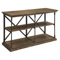 Crafted from pine wood and steel, this rustic console table adds lodge-chic appeal to your living room or home library.    Product...
