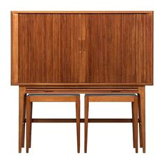 Kurt Østervig Bar Cabinet with Two Side Tables by K.P Møbler in Denmark | See more antique and modern Dry Bars at https://www.1stdibs.com/furniture/storage-case-pieces/dry-bars