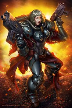 "Hil! Here I come with a brand-new commission starred by an original character , belonging to the fictional universe of Warhammer 40,000. The history behind the character is awesome. Her name is Bianca and she's one of The ""Adepta Sororitas"", also known as the Sisters of Battle."