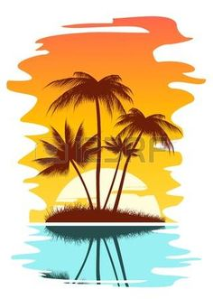 beach scene tropical abstract background with palms and sunset