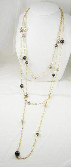 Three Strand Tahitian Pearl Necklace Vintage by NeatstuffAntiques, $65.00