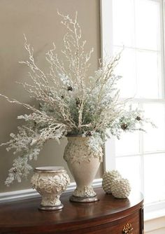 Frosty white!  www.tablescapesbydesign.com https://www.facebook.com/pages/Tablescapes-By-Design/129811416695