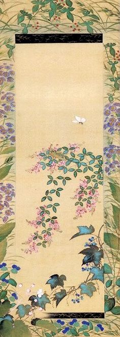 Flowers and Butterflies. Suzuki Kiitsu. 鈴木其一 Japanese hanging scroll. Nineteenth century.