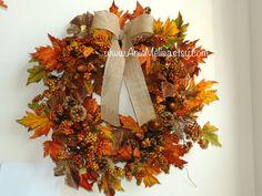 wreaths fall wreath autumn wreaths orange brown berry wreath front door wreath burlap ribbon Thanksgiving fall door wreaths outdoor wreaths