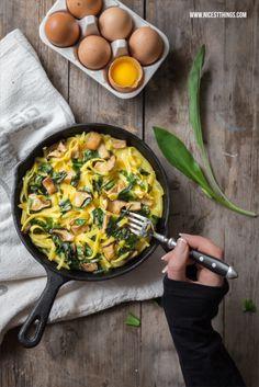 Frittata with Spaetzle, Mushrooms and Wild Garlic