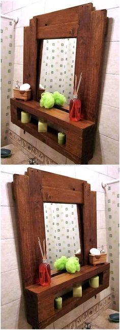 simple palette de bois miroir et étagères
