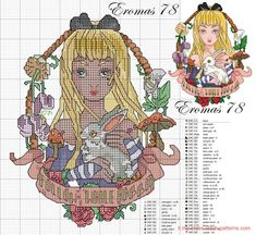 Alice in wonderland disney pin up Beaded Cross Stitch, Cross Stitch Charts, Cross Stitch Embroidery, Embroidery Patterns, Disney Cross Stitch Patterns, Cross Stitch For Kids, Cross Stitch Designs, Alice In Wonderland Cross Stitch, Alice In Wonderland Crafts