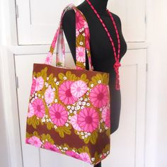 Retro Shopping or Beach Bag Pink 60s Flower Power by audreyscat, £27.00
