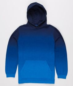 Beautifully dyed fade-design hooded sweater from Blue Blue in a simplistic design with front marsupial pocket. Tidy detailing on the neck with a contrast circle sewn in.