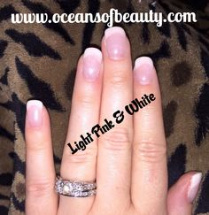 Light Pink & White EZdip Gel Powder. DIY EZ Dip. No lamps needed, lasts 2-3 weeks! Salon Quality done right in your own home! For updates, customer pics, contests and much more please like us on Facebook https://www.facebook.com/EZ-DIP-NAILS-1523939111191370/ #ezdip #ezdipnails #diynails #naildesign #dippowder #gelnails #nailpolish #mani #manicure #dippowdernails