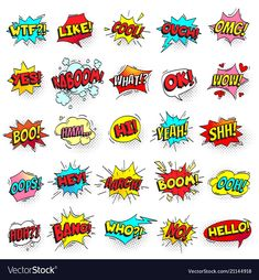 Bang, ouch shouts and yeah shouting text bubble with halftone pattern shadow. Pop art comic sign retro style cool hello ok wow boo hi text shout speech bubbles colorful vector isolated symbol set , Comic Template, Text Bubble, Halftone Pattern, Graffiti Drawing, Shirt Print Design, Comic Styles, Disney Art, Word Art, Comic Art