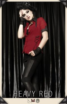 Perfect for the heat. Light weight, breathable cotton dress shirt, with all the darkness you could ever want. #gothicshirt #gothicclothing #red #corset #redandblack #femmefatal #summersexy #fashion #runway #gothicbeauty #buttonup #officesexy #fitted