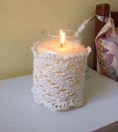 A Handmade Crocheted Lace ,large Yankee Candle Cover