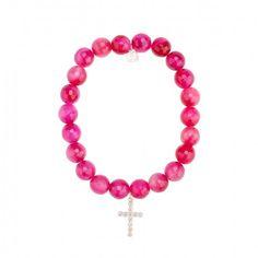 White-Gold & Diamond Cross on Pink Agate