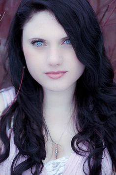 beautiful pale skin, dark hair