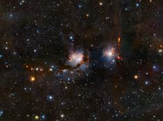 Photo: ESO's Dustbuster Reveals Hidden Stars  In this new image of the nebula Messier 78, young stars cast a bluish pall over their surroundings, while red fledgling stars peer out from their cocoons of cosmic dust. To our eyes, most of these stars would be hidden behind the dust, but ESO's Visible and Infrared Survey Telescope for Astronomy (VISTA) sees near-infrared light, which passes right through dust. The telescope is like a giant dustbuster that lets astronomers probe deep into the…