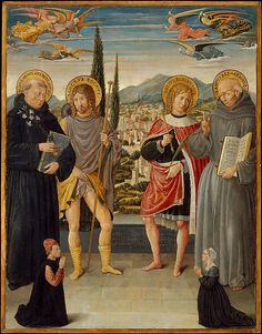 Fernand #Khnopff on #Quattrocento Benozzo Gozzoli (Italian, Florence, c.1421–1497), Saints Nicholas of Tolentino, Roch, Sebastian, and Bernardino of Siena, with Kneeling Donors, 1481, Tempera and gold on canvas, transferred from wood, Overall, with added strips, 31 x 24 3/8 in. (78.7 x 61.9 cm), Metropolitan Museum of Art. Fernand Khnopff (1858-1921), I lock my door upon myself, 1891, oil on canvas, 72.7x141cm, Neue Pinakothek Munich.
