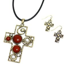 "Cross Pendant Necklace Set; 18""L; Black Cord Chain; Burnished Gold Metal; Red Gemstones And Clear Rhinestones; Lobster Clasp Closure; Matching Earrings Included; Eileen's Collection. $16.99. Save 43% Off!"