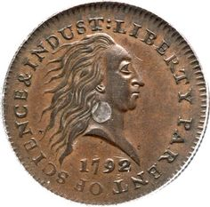 Famous 1792 Silver Center Cent, Judd-1, MS61 Brown  The First Coin Struck Inside the Philadelphia Mint