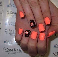 There are three kinds of fake nails which all come from the family of plastics. Acrylic nails are a liquid and powder mix. They are mixed in front of you and then they are brushed onto your nails and shaped. These nails are air dried. Cute Summer Nail Designs, Simple Nail Designs, Nail Designs Spring, Fingernail Designs, Toe Nail Designs, Nails Design, Coral Nails With Design, Salon Design, Spring Nail Art