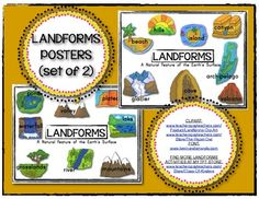 You are receiving 2 color posters! Print as posters or as 8 poster has 8 pictures of 8 different landforms. Social Studies For Kids, Kindergarten Social Studies, Social Studies Activities, Kindergarten Learning, Science Activities, Science Ideas, Science Lessons, Too Cool For School, School Stuff