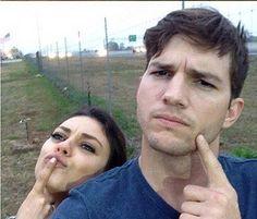 """Desejo de grávida? Kutcher e Mila Kunis posam à frente do """"maior amendoim do mundo"""" >> http://glo.bo/1jNxMCf"""