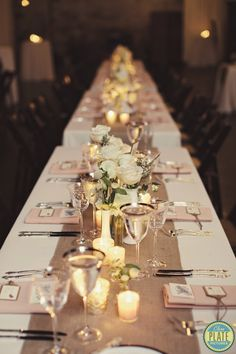 Long tables settings! The Green Building Wedding | New York Wedding Photography - Clean Plate Pictures