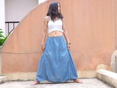 Funky Skirt ...Long Skirt ....Color Light Blue by Ablaa on Etsy, $29.00