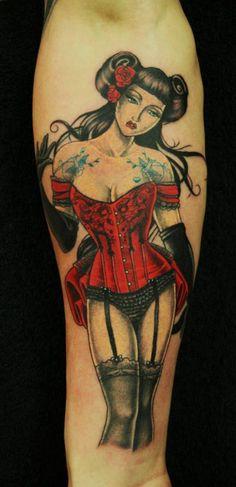 Modern geisha pinup by Paul Priestley Like the outfit Asian Tattoos, Weird Tattoos, Pin Up Tattoos, Girly Tattoos, Great Tattoos, Beautiful Tattoos, Body Art Tattoos, Inspiring Tattoos, Tatoos