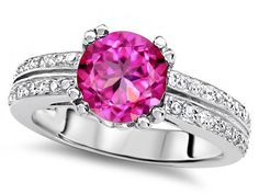 Original Star K(tm) Round 7mm Created Pink Sapphire Engagement Wedding Ring