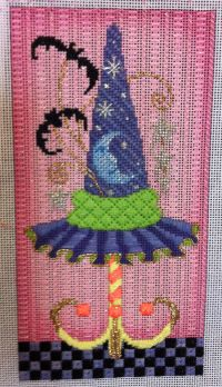 love the background stitch from Chandail Needlework Fabulous Upcoming Series, needlepoint witch hat