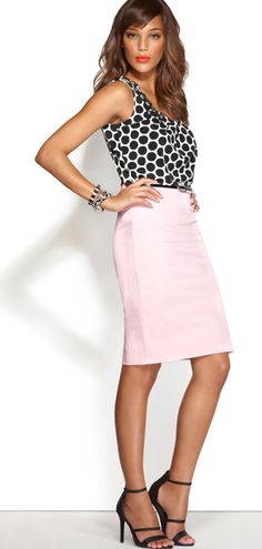 The Dot-Print Pleated Top, & The Sateen Pencil Skirt. | UTDallas JSOM Career Management Center