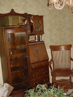 Side By Secretary Bookcase Deskbookcasesantique