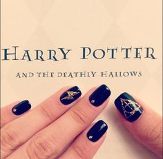 Marie Nails - Los Angeles, CA, United States. I went for a simple Harry Potter themed manicure with the Dealthy Hallows sign, a lightning bolt, and studs. $52. Love it!