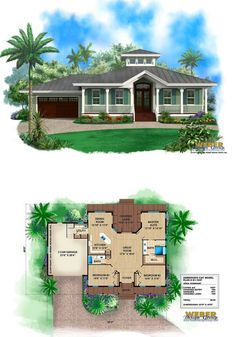 House Plan: 1 Story Old Florida Style Coastal Home Floor Plan Small old Florida cracker style house plan with metal roof, wrap around porch, cupola.Small old Florida cracker style house plan with metal roof, wrap around porch, cupola. Florida House Plans, Beach House Plans, Garage House Plans, Beach House Decor, Car Garage, Old Florida, Florida Style, Small Cottage House Plans, Small Cottage Homes