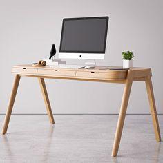 Home Office Furniture Design, Home Office Desks, Home Furniture, Office Desk Chairs, Office Organization At Work, Office Ideas, Minimalist Desk, Desk Layout, Wooden Desk