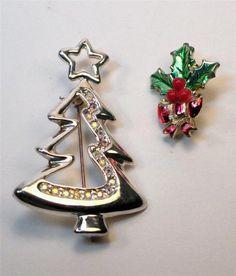 Geometric Christmas Tree Pin Signed TC Aurora Borealis Rhinestones Bonus Holly