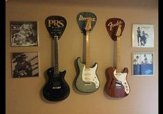 Awesome Custom Pick Shape guitar hanger you to use your imagination and personalize it with your name, guitar brand, or even an image, along with
