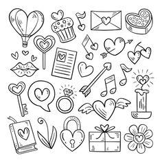 Doodle valentine's day element set Free ... | Premium Vector #Freepik #vector #heart Love Doodles, Easy Doodles Drawings, Mini Drawings, Cute Easy Drawings, Simple Doodles, Kawaii Doodles, Cute Doodle Art, Doodle Art Designs, Doodle Art Drawing