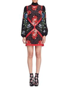 Tablecloth-Print Scarf-Neck Dress, Black by Alexander McQueen at Neiman Marcus.