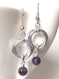 Amethyst Mobius Earrings from Aberrant Ginger. February birthstone or perfect for a bridesmaid gift. Australian based chainmaille jewelry.